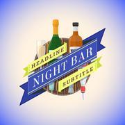 Color flat night bar emblem template. Stock Illustration