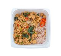 Ready to eat rice box vegetarian food for lunch isolate on white with clippin - stock photo