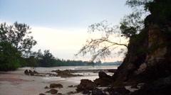 Beautiful sunset evening Koh Phayam Island beach in Ranong, Thailand Stock Footage