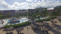 Resort in St Lucia and beach Stock Footage