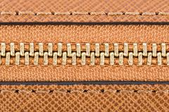 Zipper Closeup On Brown Leather Wallet Stock Photos