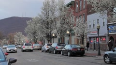 Small Town Eastern Main street in spring Stock Footage