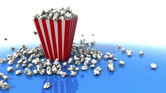Pop corn pouring out of the box film and movies concept Stock Footage