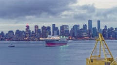 Dawn at Vancouver bay time lapse 4k-Downtown busy morning north shore view. Stock Footage