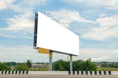 Blank billboard or road sign ready for new advertisement - stock photo