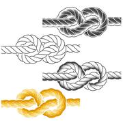 Rope knots in full-color, textured and contour drawings Stock Illustration