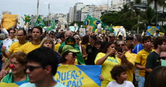 2016 March,People Protest Against Corruption. Copacabana, Rio De Janeiro, Brazil - stock footage