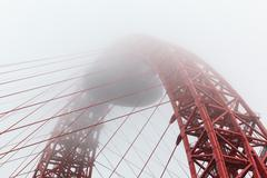 Zhivopisny cable-stayed bridge in fog Stock Photos