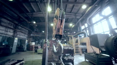 Crane Hook in industrial factory. Plant inside Stock Footage