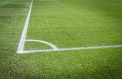 natural green soccer field with white lines - stock photo