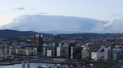 Time Lapse Overview of the City of Oslo Norway - Evening Stock Footage
