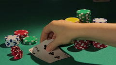 Looser showing down bad cards, bluffing player detected, admitting failure Stock Footage