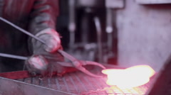 Forging steel machine inside industrial plant Stock Footage