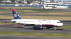 USAirways plane taxies on arrival Stock Footage