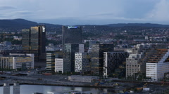 Time Lapse Zoom Out  of the City of Oslo Norway - Evening Stock Footage
