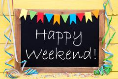 Chalkboard With Party Decoration, Text Happy Weekend Stock Photos