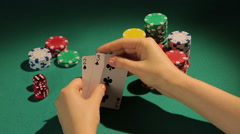 Unlucky poker player disappointed with bad cards, loss of money in risky gamble Stock Footage
