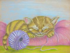 Sleeping Cat Stock Illustration