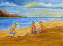 Children on the Beach Stock Illustration