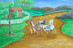 Running Horses Stock Illustration