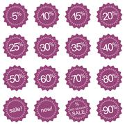 Pink sale, new and mid season sale icons or tag stickers - stock illustration