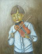 Boy playing violin Stock Illustration