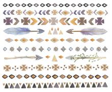 Set of  watercolor tribal, ethnic, aztec, boho chic,  geometric - stock illustration