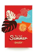 Enjoy your summer vacations paradise beach poster Stock Illustration