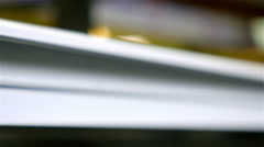 Dolly of PVC profiles, plastic windows manufacture Stock Footage