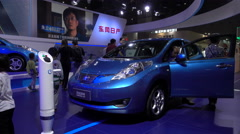 Chinese electric car on display at trade exhibition in Shanghai Stock Footage