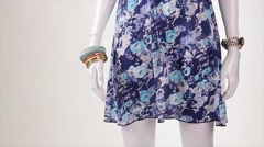 Mannequin in blue sarafan turning. Stock Footage