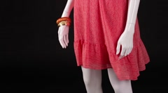 Mannequin in red dress turning. Stock Footage