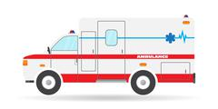 Vector flat ambulance vehicle illustration car emergency auto icon - stock illustration