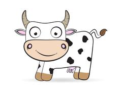 cartoon flat cow vector farm animal illustration - stock illustration