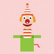 Cartoon clown in box jester vector april illustration Stock Illustration