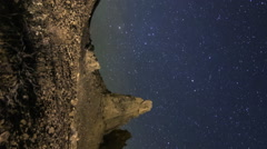 2axis MoCo Time Lapse of Milky Way over Hoodoos at Trona Pinnacles -Vertical- Stock Footage