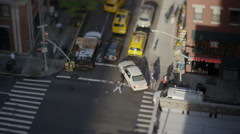 High angle wide time lapse shot of flagger directing traffic / New York, New Stock Footage