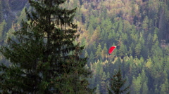 Paraglider Forest Trees French Alps Chamonix France 5K HD Stock Video Footage - stock footage
