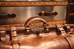 leather suitcase close-up - stock photo