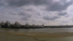 Thames flood barrier time-lapse footage Stock Footage