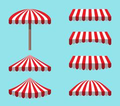 Set of Red White Tents isolated on sky Background - stock illustration