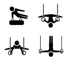 Set of gymnastic icons in silhouette style - stock illustration