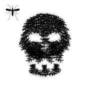 Skull of mosquito isolated on white, vector Stock Illustration