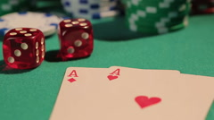 Pair of aces brings victory to poker player, gambling addiction problem, casino Stock Footage