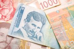 Nikola Tesla 100 dinar bill - stock photo