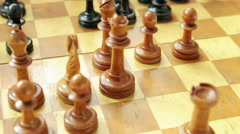 Old chess. Chess game - stock footage