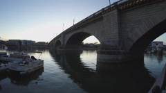 London Bridge At Dusk- Lake Havasu City- Arizona Stock Footage