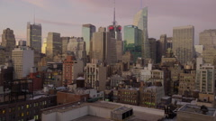 Wide shot of high rise buildings in cityscape / New York, New York, United Stock Footage