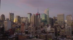 Wide shot of highrise buildings in cityscape / New York, New York, United States Stock Footage