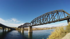 Metal Railroad Truss Bridge Over Colorado River- Parker AZ Stock Footage